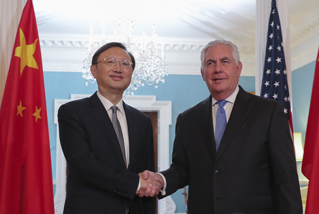 Chinese State Councilor Yang Jiechi (L) meets with U.S. State of Secretary Rex Tillerson in Washington D.C., U.S., on Tuesday, September 12, 2017. [Photo: Xinhua]