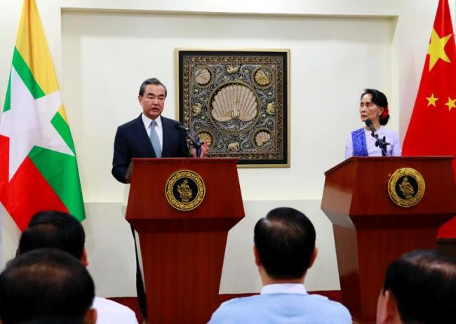 Chinese Foreign Minister Wang Yi speaks at a joint press conference with Myanmar's State Counsellor and Foreign Minister Aung San Suu Kyi in Nay Pyi Taw, Myanmar, on Nov. 19, 2017. [Photo: China Plus]