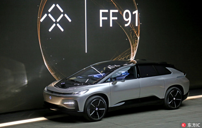 Faraday Future's electric vehicle FF91 is revealed at the CES 2017 in Las Vegas on January 4, 2017. [File Photo: dfic]