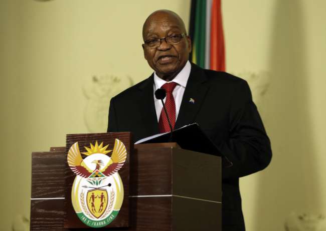 "South African President Jacob Zuma addresses the nation and press at the government's Union Buildings in Pretoria, South Africa, Wednesday, Feb. 14, 2018. South Africa's President Jacob Zuma says he will resign ""with immediate effect"". [Photo: AP/Themba Hadebe]"