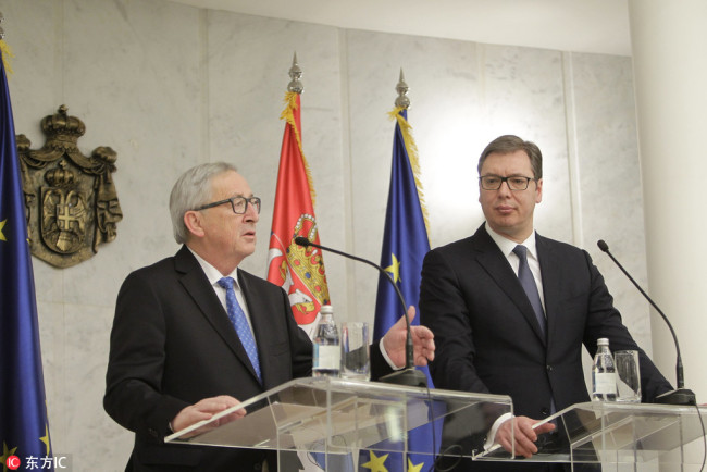 President of the European Commision Jean-Claude Juncker (L) talks during the press conference with Serbian President Aleksandar Vucic (R) in Belgrade, Serbia, 26 February 2018. [Photo: IC]
