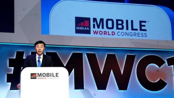 Shang Bing, chair of China Mobile, announcing plans to build the world's largest 5G test network at the Mobile World Congress (MWC) in Barcelona, Spain, February 26, 2018. [Photo: thepaper.cn]
