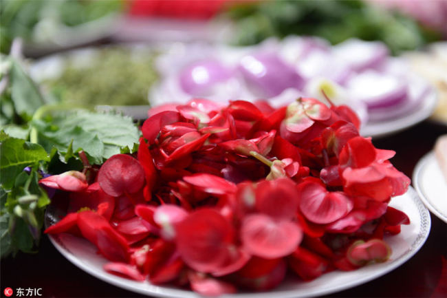 """Begonia flower(海棠花), known as the """"flower fairy"""", is well-known among Chinese people. It contains multivitamins(多种维生素) and organic acids(有机酸), and can help produce saliva and satisfy thirst(生津止渴). [Photo/IC]"""