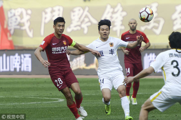 Hebei China Fortune defeats Guizhou Zhicheng 3-2 during a match of the 2018 Chinese Super League (CSL) on March 11, 2018. [Photo: VCG]