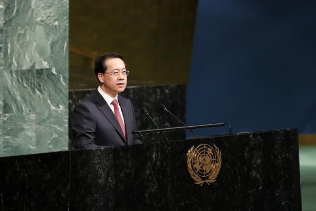"""Chinese ambassador to the United Nations (UN) Ma Zhaoxu showcases China's water policy and achievements at a high-level event of the UN General Assembly to launch the """"International Decade for Action: Water for Sustainable Development"""" on Friday, March 23, 2018. [Photo: Xinhua]"""