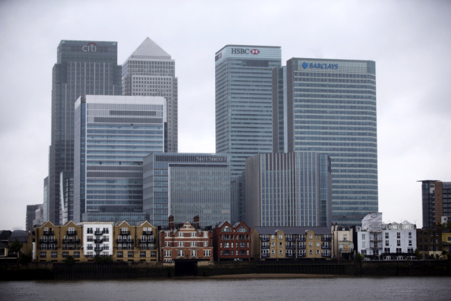 A view of Canary Wharf business district of London. [File Photo: AP/Matt Dunham]