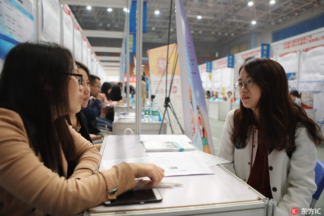 A job fair in Beijing on April 21, 2018. [File Photo: IC]