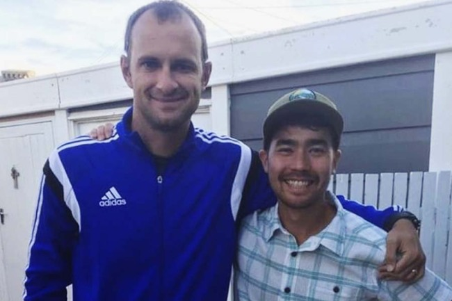 In this October 2018 photo, American adventurer John Allen Chau, right, stands for a photograph with Founder of Ubuntu Football Academy Casey Prince, 39, in Cape Town, South Africa, days before he left for in a remote Indian island of North Sentinel Island, where he was killed. Chau, who kayaked to the remote island populated by a tribe known for shooting at outsiders with bows and arrows, has been killed, police said Wednesday, Nov. 21. Officials said they were working with anthropologists to recover the body. [Photo: AP]