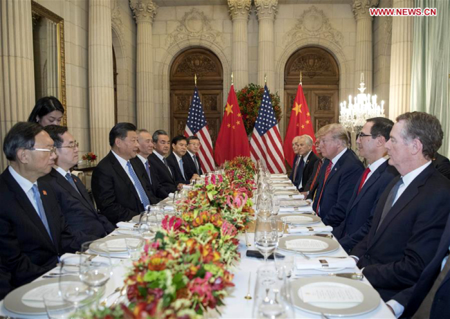 Chinese President Xi Jinping speaks during a working dinner with his U.S. counterpart Donald Trump in Buenos Aires, Argentina, Dec. 1, 2018. [Photo: Xinhua/Li Xueren]