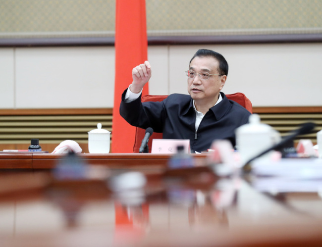 Chinese Premier Li Keqiang heads the first plenary session of the national leading group on science and technology in Beijing, December 6, 2018. [Photo: Gov.cn]