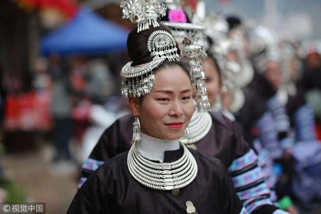 Women in traditional costumes of Dong ethnic group [File photo: VCG]