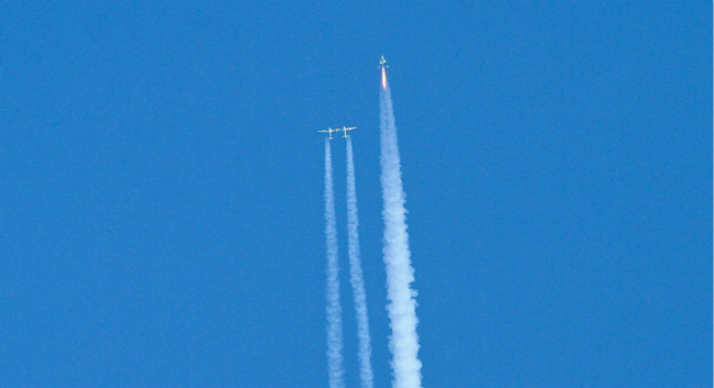 Virgin Galactic reaches space for the first time during its 4th powered flight from Mojave, Calif. The aircraft called VSS Unity reached an altitude of 271,268 feet reaching the lower altitudes of space. [Photo: AP]