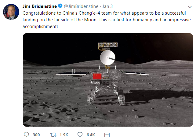 NASA's Administrator Jim Bridenstine's post [Screenshot: China Plus]