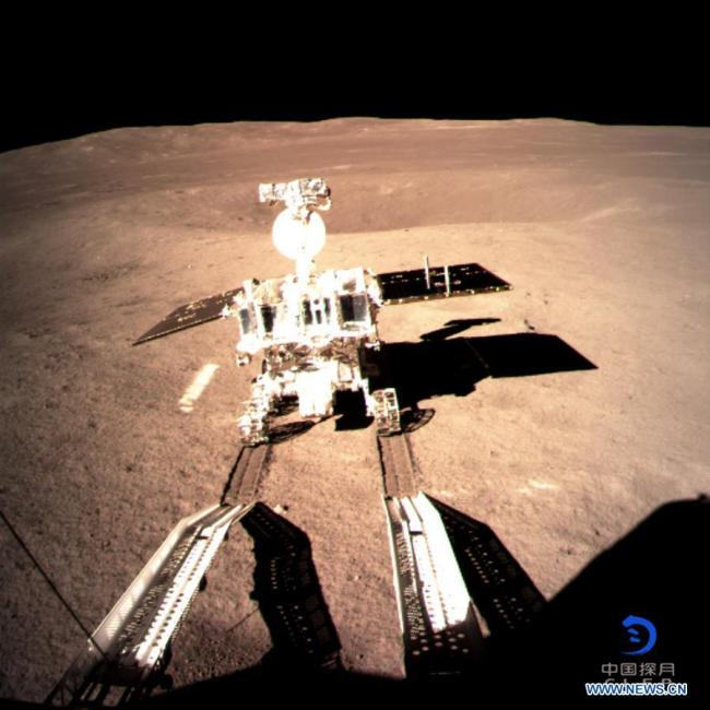 Photo provided by the China National Space Administration on Jan. 3, 2019 shows Yutu-2, China's lunar rover, leaving a trace after touching the surface of the far side of the moon. [Photo: Xinhua]