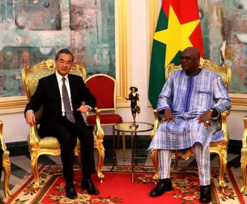 Burkina Faso President Roch Marc Christian Kabore (R) meets with Chinese State Councilor and Foreign Minister Wang Yi in Ouagadougou on Friday, January 4, 2019. [Photo: fmprc.gov.cn]