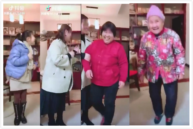 """Another """"Four generations under one roof"""" themed challenge video. [Screenshot: China Plus]"""