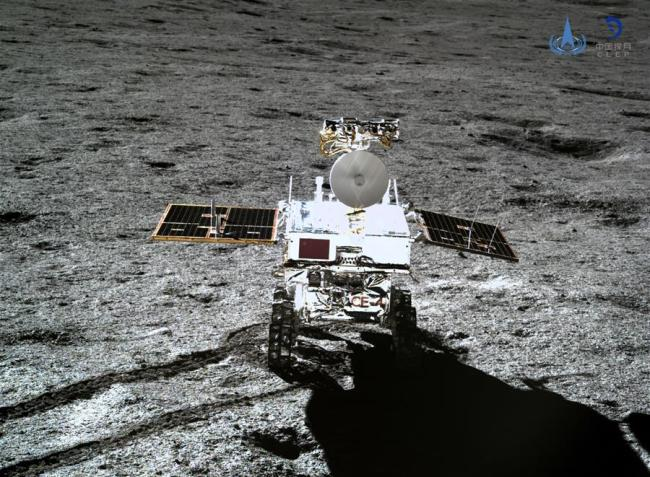 Photo taken by the lander of the Chang'e-4 probe on Jan. 11, 2019 shows the rover Yutu-2 (Jade Rabbit-2). China announced Friday that the Chang'e-4 mission, which realized the first-ever soft-landing on the far side of the moon, was a complete success. With the assistance of the relay satellite Queqiao (Magpie Bridge), the rover Yutu-2 (Jade Rabbit-2) and the lander of the Chang'e-4 probe took photos of each other. [Photo: Xinhua/China National Space Administration]