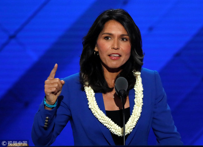 Representative Tulsi Gabbard (D-HI) delivers a nomination speech for Senator Bernie Sanders on the second day at the Democratic National Convention in Philadelphia, Pennsylvania, U.S. July 26, 2016. [Photo: VCG]