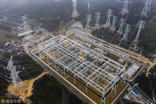 The 500 kV ultra-high voltage power line in Zhoushan, Zhejiang province, is put into operation on Tuesday, January 15, 2019. [Photo: VCG]