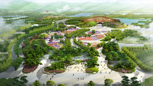 An artist's impression of the Chinese Pavilion of the International Horticultural Exhibition 2019 Beijing China [File photo: Beijing Expo 2019]