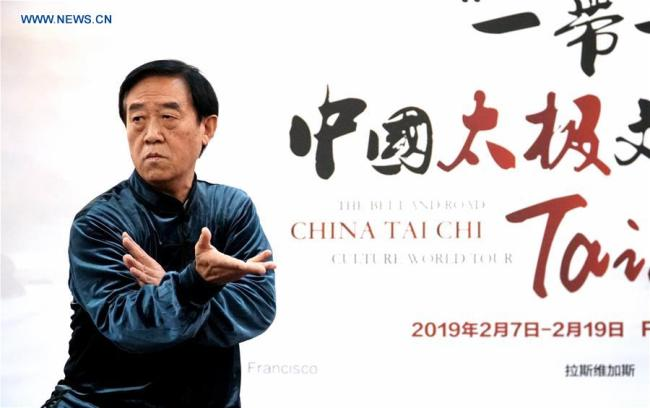 Chinese Tai Chi master Chen Zhenglei demonstrates Tai Chi in Fremont, California, the United States, Feb. 8, 2019. [Photo: Xinhua]