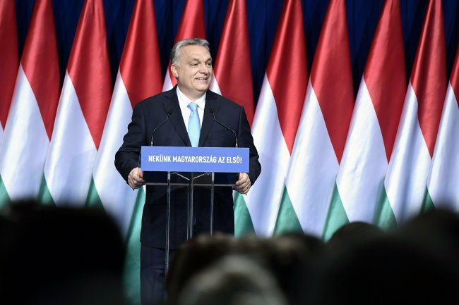 "Hungarian Prime Minister Viktor Orban delivers his annual ""State of Hungary"" speech in Budapest, Hungary, Sunday, Feb. 10, 2019. The inscription reads: ""For us Hungary is the first!""[Photo: AP]"
