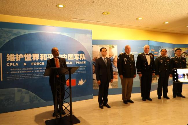 Atul Khare, Under-Secretary-General for Field Support, speaks at the ceremony of China peacekeeping exhibition in the United Nations, Feb. 11, 2019. [Photo: China Plus/Qian Shanming]