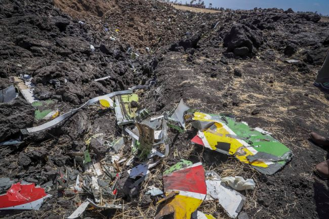 Wreckage lies at the scene of an Ethiopian Airlines flight that crashed shortly after takeoff at Hejere near Bishoftu, or Debre Zeit, some 50 kilometers (31 miles) south of Addis Ababa, in Ethiopia Sunday, March 10, 2019. [Photo: AP]