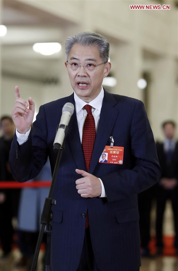 Li Xiaopeng, a member of the 13th National Committee of the Chinese People's Political Consultative Conference (CPPCC), receives an interview ahead of the closing meeting of the second session of the 13th CPPCC National Committee at the Great Hall of the People in Beijing, capital of China, March 13, 2019. [Photo: Xinhua]