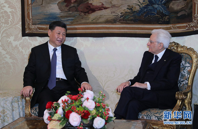 Chinese President Xi Jinping (L) and his Italian counterpart Sergio Mattarella hold talks in Rome, Italy, March 22, 2019. [Photo: Xinhua]