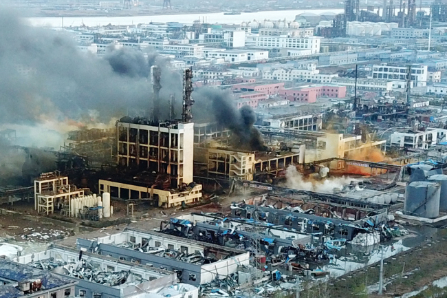 Photo taken on March 22, 2019 shows the accident site of an explosion at a plant located in a chemical industrial park in Xiangshui County of Yancheng, Jiangsu Province. [Photo: IC]