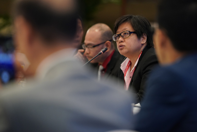 Han Yonghong, an associate editor at Singapore's Chinese-language daily Lianhe Zaobao, speaking at the Asia Media Cooperation Conference during the Boao Forum for Asia annual conference 2019 in Boao, south China's Hainan Province, March 29, 2019. [Photo: China Plus]