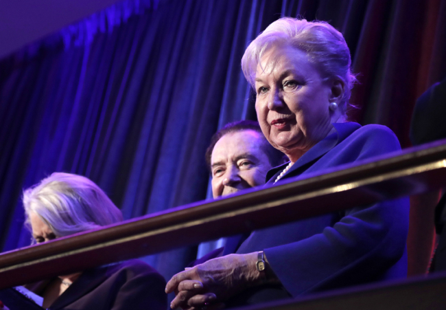 Federal judge Maryanne Trump Barry, sister of Donald Trump, sits in the balcony during Trump's election night rally in New York, November 9, 2016. [File photo: AP/Julie Jacobson]