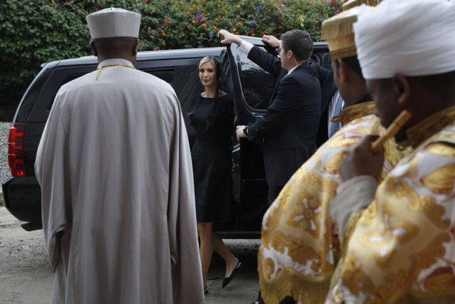 White House senior adviser Ivanka Trump, center, arrives for a ceremony at Holy Trinity Cathedral honoring the victims of the Ethiopia Airlines crash, Monday April 15, 2019, in Addis Ababa, Ethiopia. [Photo: AP/Jacquelyn Martin]