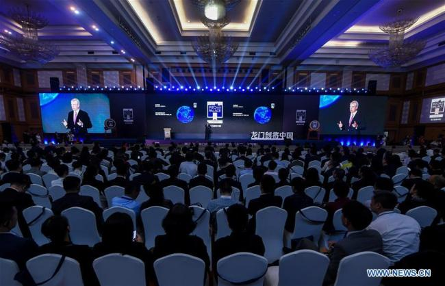 British Prince Andrew, the Duke of York, addresses the final of Pitch@Palace China in Shenzhen, south China's Guangdong Province, April 14, 2019. [Photo: Xinhua/Mao Siqian]
