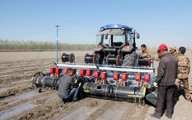 A tractor sows a field in Shihezi City, Xinjiang on April 15, 2019. [Photo: China Plus]