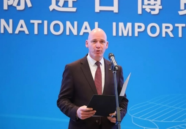 Jean-Philippe Poulin, CEO of Lesaffre Greater China, introduces the Asian leg of its World Bakery Cup competition to be held during the 2nd CIIE. [Photo: Chinaplus]