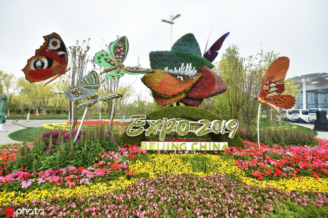 An eye-catching floral sculpture at the Beijing horticultural expo, April 26, 2019. The 2019 Beijing International Horticultural Expo is set to be held from April 29 to October 7. Visitors will get to see featured horticultural settings in various parks from different provinces in China. [Photo: IC]