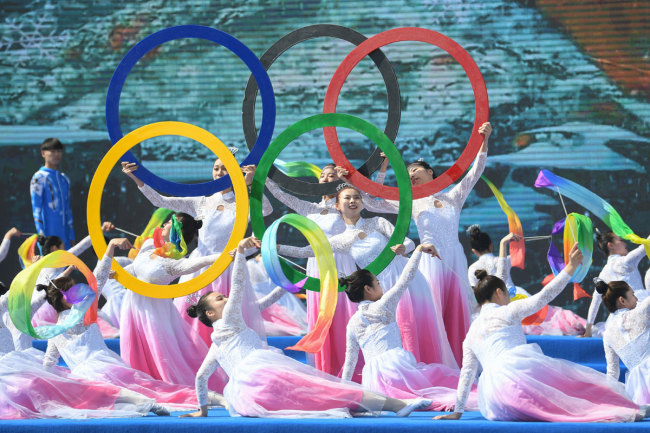 A commemorative activity related to winter sports and Olympic culture is held in Zhangjiakou, Hebei Province, on May 11, 2019. [Photo: IC]