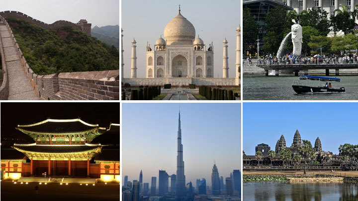 A glimpse of the scenic spots and landmarks in Asia