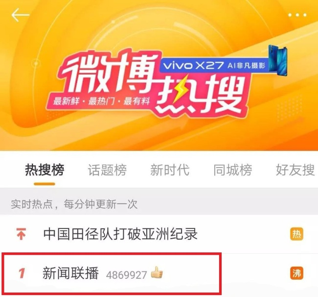 A screen shot showing that the CCTV editorial is the most frequently searched topic on Weibo in May. [Photo: China Plus]