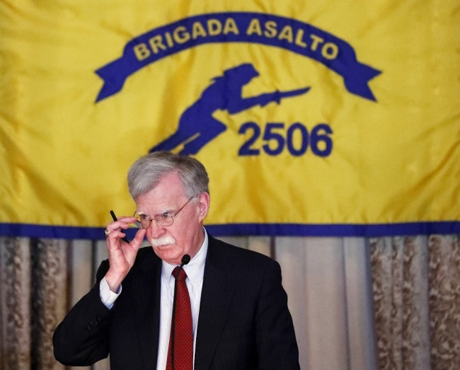 U.S. National security adviser John Bolton discussing new administration policy during a speech on April 17, 2019, in Coral Gables, Florida, at the Bay of Pigs Veterans Association on the 58th anniversary of the United States' failed attempt to overthrow the Cuban government. [Photo: IC]