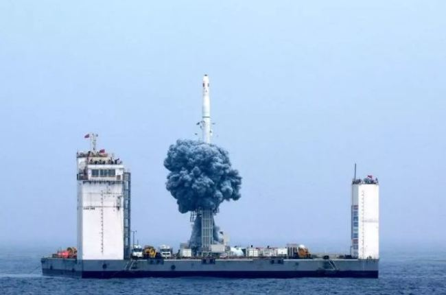The Long March-11 carrier rocket blasts off from a sea-based platform in the Yellow Sea on Wednesday, June 05, 2019. [Photo: CCTV]