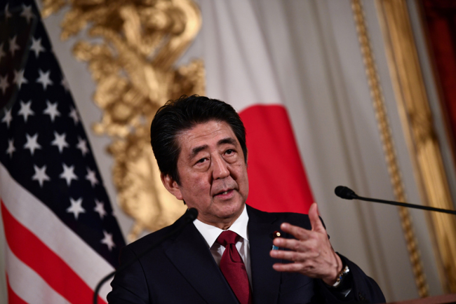 Japan's Prime Minister Shinzo Abe speaks during a joint press conference with US President Donald Trump (not pictured) at Akasaka Palace in Tokyo on May 27, 2019. [File photo: AFP/Brendan Smialowski]