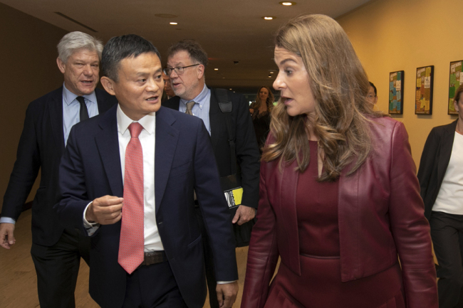 Jack Ma, and Melinda Gates, leave a television studio at United Nations headquarters, Monday, June 10, 2019, after a live conversation with U.N. Secretary General Antonio Guterres on digital cooperation. [Photo: AP]