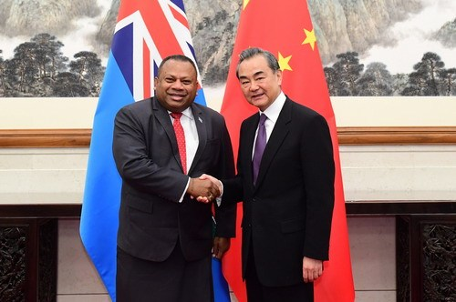 Chinese State Councilor and Foreign Minister Wang Yi meets with Fijian Minister for Foreign Affairs Inia Seruiratu in Beijing on Tuesday, June 11, 2019. [Photo: fmprc.gov.cn]