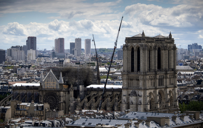 A view taken from the Tour Saint-Jacques shows the detail of scaffolding on the Notre-Dame de Paris Cathedral following a fire on April 26, 2019. [Photo: AFP/Eric Feferberg]
