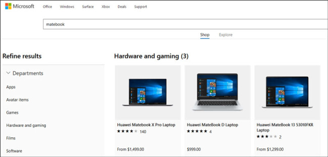 A screenshot of the online store of Microsoft, showing that laptops produced by Huawei are being advertised on its website. [Photo: ifeng.com]