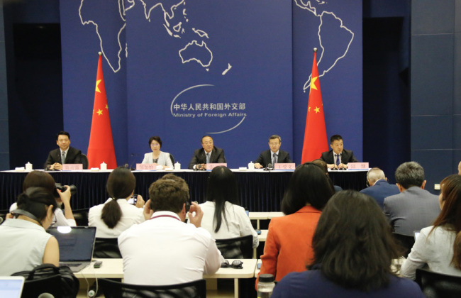 (From left to right) Deputy Governor the People's Bank of China Chen Yulu, Vice Minister of Finance Zou Jiayi, Assistant Foreign Minister Zhang Jun, and Vice Minister of Commerce Wang Shouwen brief the press on President Xi Jinping's attendance at G20. [Photo: China Plus]