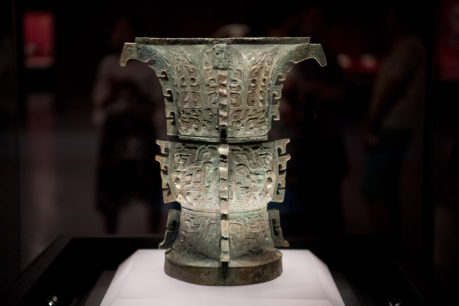 "The bronze ware ""Yizun"" is seen being placed at the Shanxi Bronze Ware Museum in Taiyuan city, Shanxi Province on July 8, 2019. [Photo: IC]"